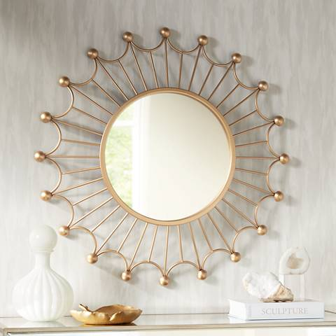 "Weiss Gold 35 1/2"" Round Sunburst Wall Mirror"