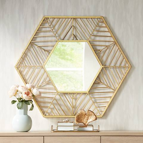 "Kelise Gold 39 1/2"" x 34"" Hexagon Wall Mirror"