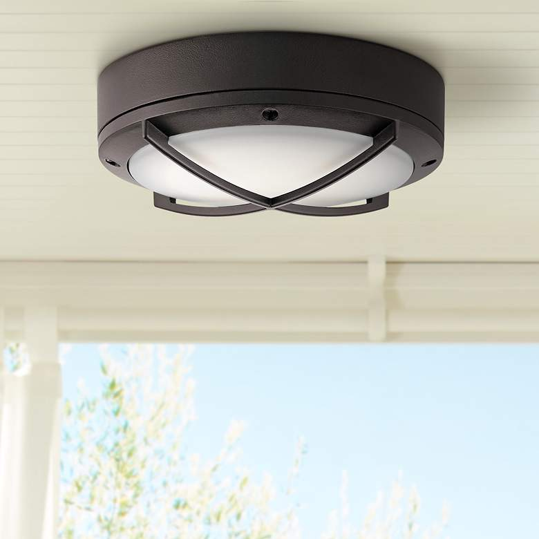 "Kichler Verne 9""W Textured Bronze LED Outdoor Ceiling"