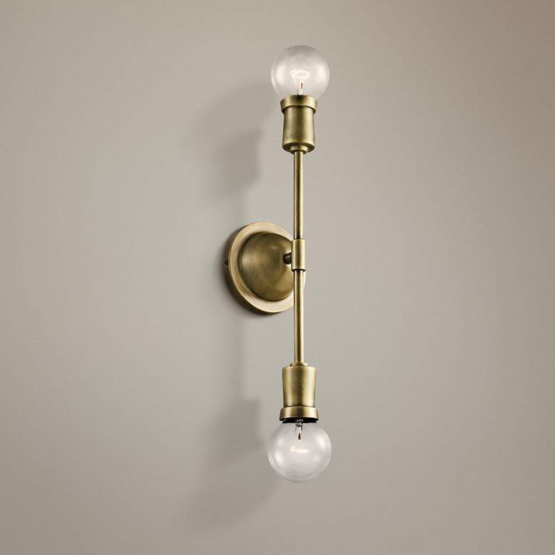 "Kichler Armstrong 5"" High Natural Brass 2-Light Wall"