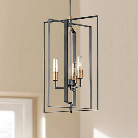 "Kichler Taubert 15"" Wide Matte Black 3-Light Foyer Pendant"