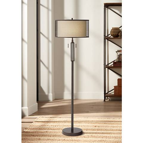Turnbuckle Bronze Floor Lamp with Double Shade