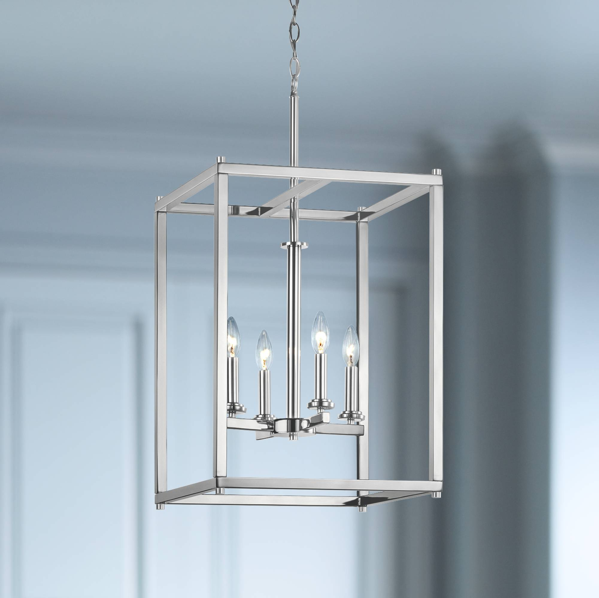 Kichler crosby 16 wide dual chrome 4 light foyer pendant
