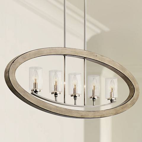 "Kichler Grand Bank 36""W Antique Gray 5-Light Linear Pendant"