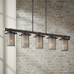 "Kichler Ahrendale 40""W Anvil Iron 5-Light Linear Chandelier"
