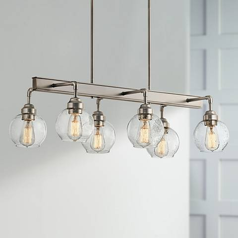 "Kichler Niles 32 1/4"" Wide Pewter 6-Light Linear Chandelier"