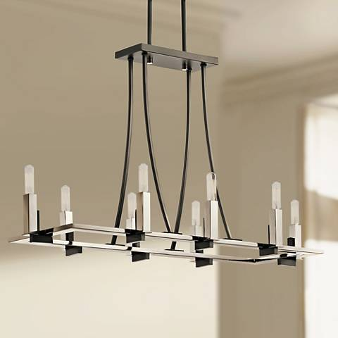 "Kichler Bensimone 36""W Black and Nickel Linear Chandelier"