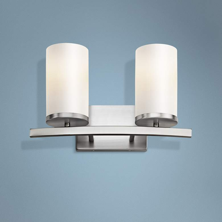 "Kichler Crosby 8 3/4""H Brushed Nickel 2-Light Wall"