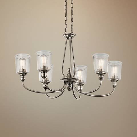 "Kichler Waverly 20""W Classic Pewter 6-Light Oval Chandelier"