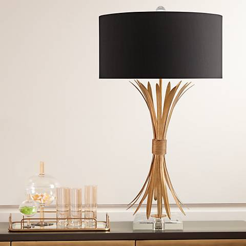 Currey and Company Idyll Gold Leaf and Clear Table Lamp