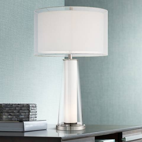 Bruno Clear Glass with Frosted Inner Nightlight Table Lamp