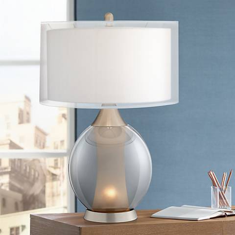 Rachel Glass and Metal Night Light Table Lamp