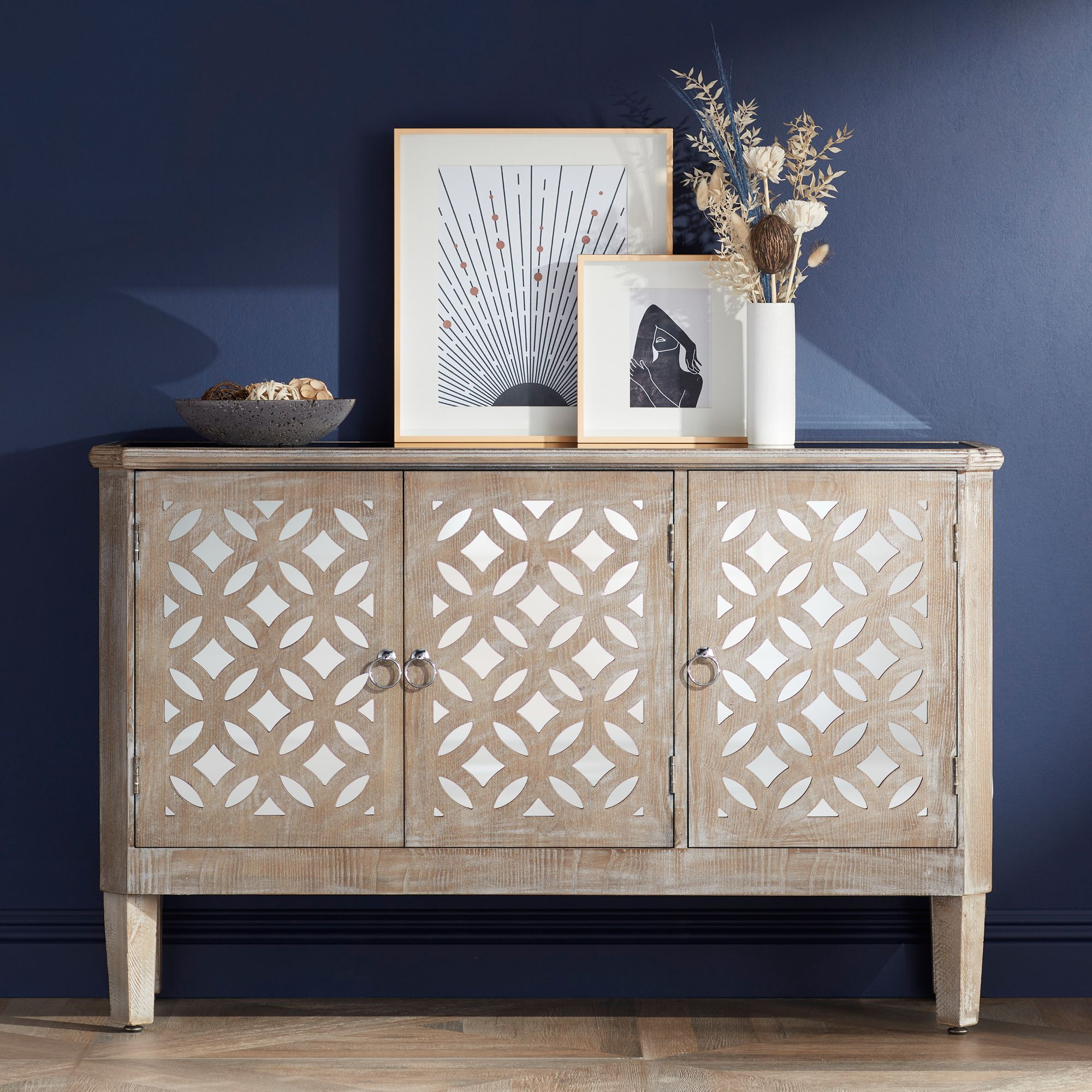 Bon Charly Natural Whitewash 3 Door Lattice Accent Cabinet