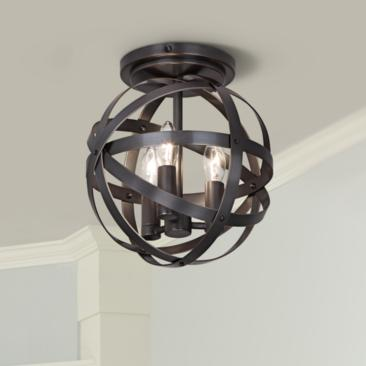 "Robert Abbey Lucy 10 1/4""W Deep Patina Bronze Ceiling Light"