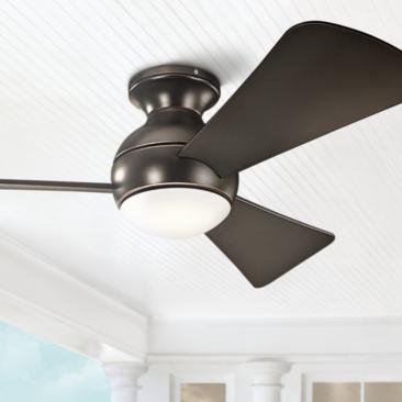 "44"" Sola Olde Bronze Wet LED Hugger Ceiling Fan"
