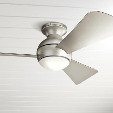 "44"" Sola Satin Nickel Wet LED Hugger Ceiling Fan"