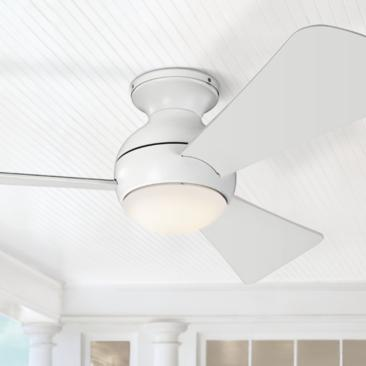 "44"" Sola Matte White Wet LED Hugger Ceiling Fan"