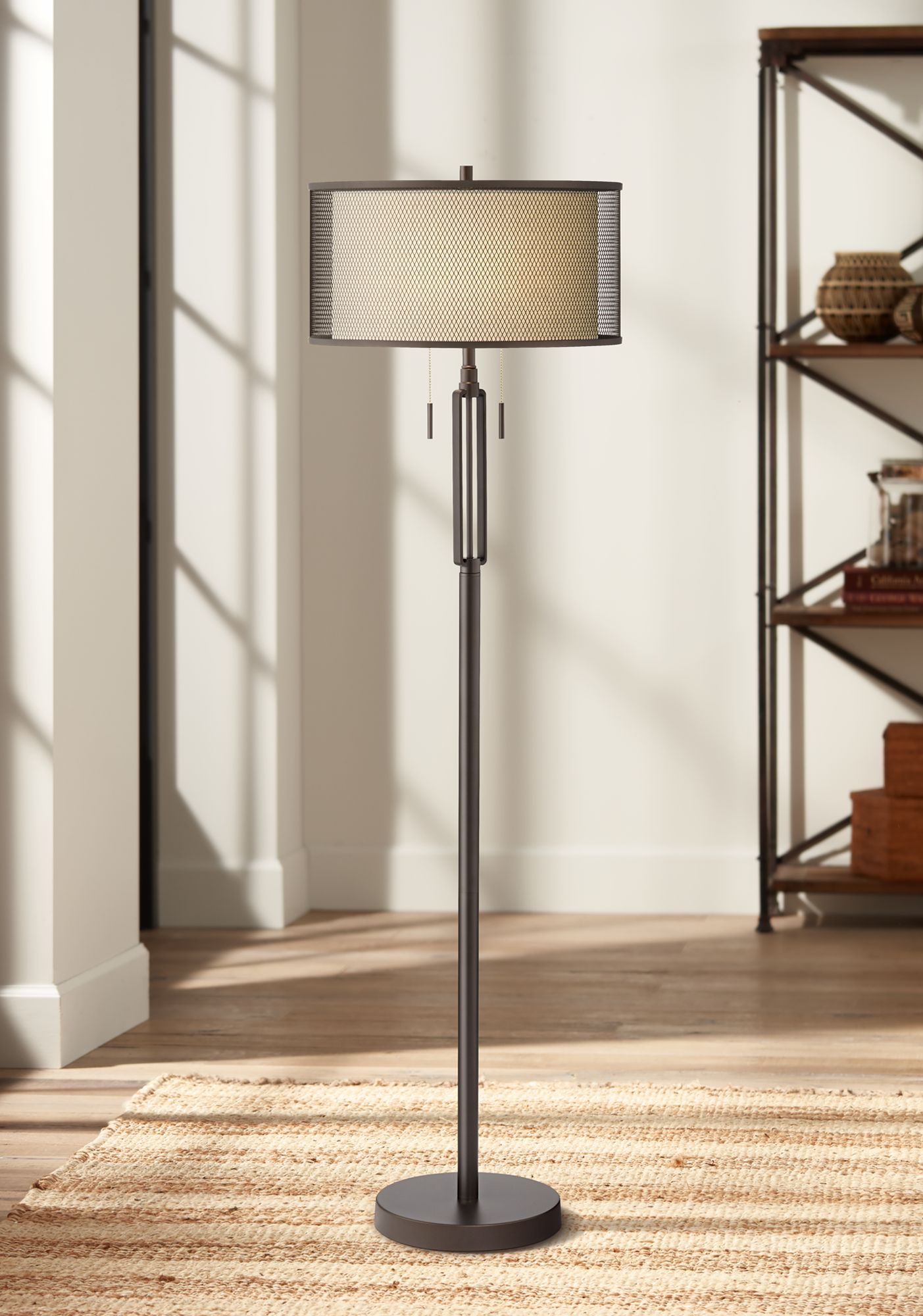 Delightful Franklin Iron Works Turnbuckle Floor Lamp With Double Shade