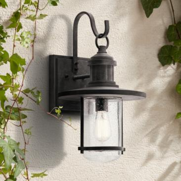 "Kichler Riverwood 19 1/2""H Weathered Zinc Outdoor Wall Light"