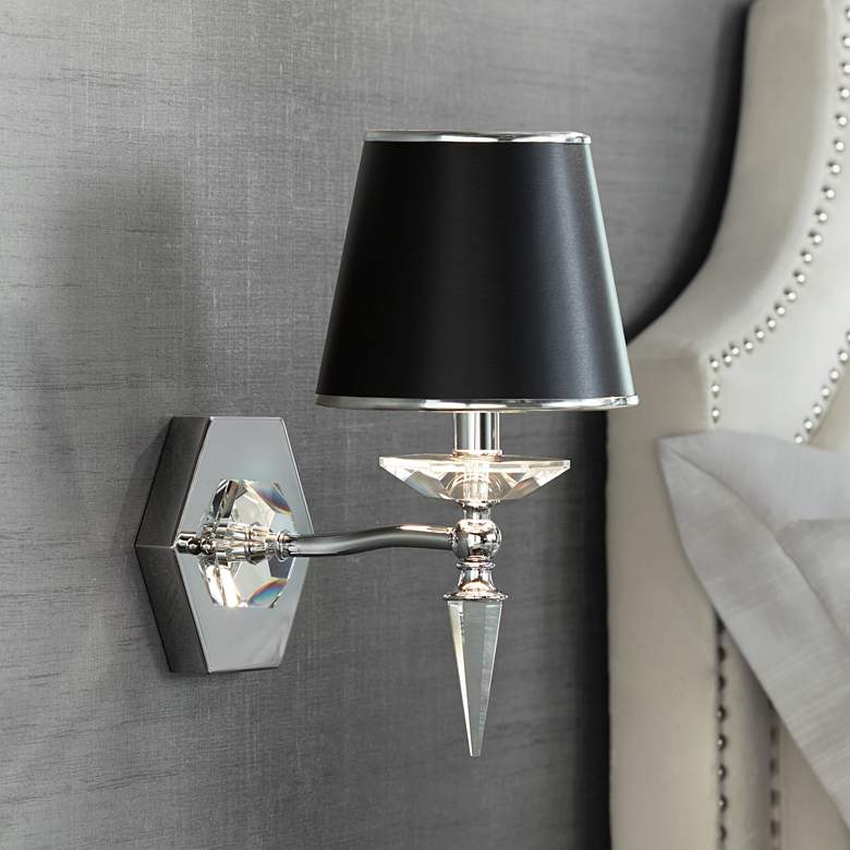 "Manhattan 13"" High Black and Chrome Crystal Wall Sconce"