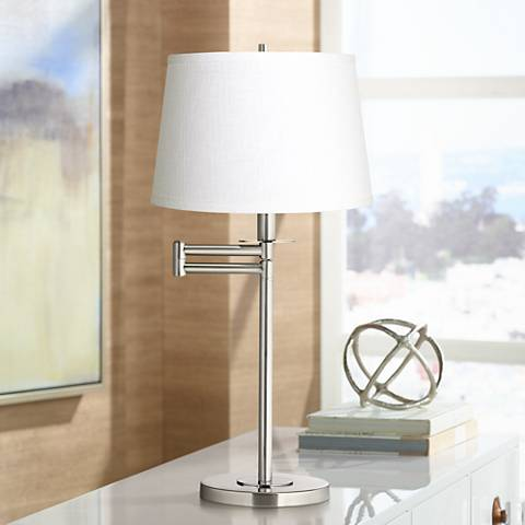 White Fabric Drum Brushed Nickel Swing Arm Desk Lamp