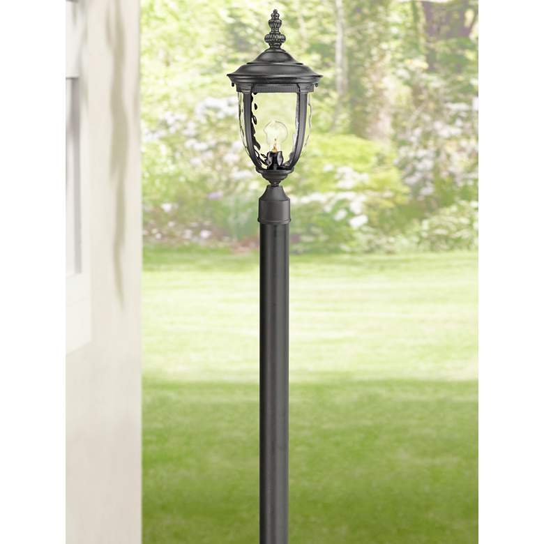 "Bellagio 103"" High Black Outdoor Post Light with Burial Pole"