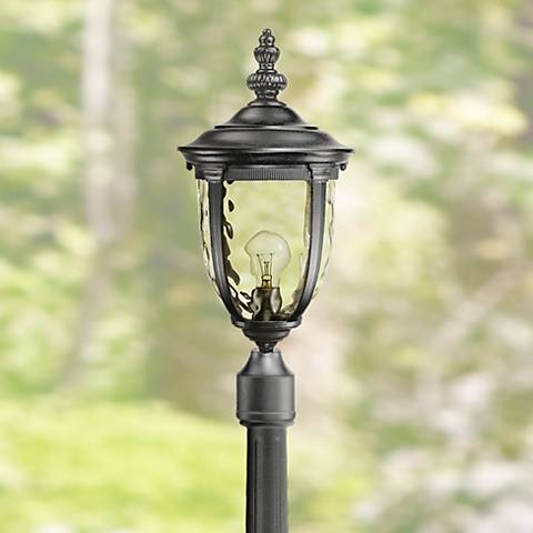 "Bellagio 95 3/4"" High Black Post Light with Flat Base Pole"