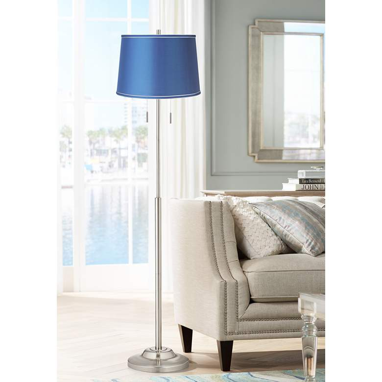 Abba Satin Blue Modern Floor Lamp with Pull Chains