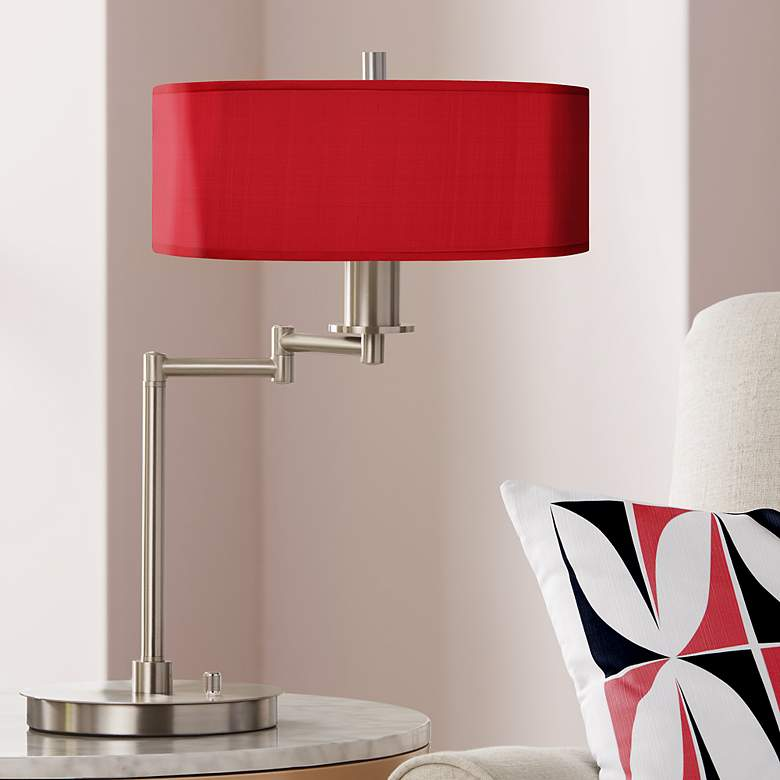 Red Textured Faux Silk CFL Swing Arm Desk Lamp