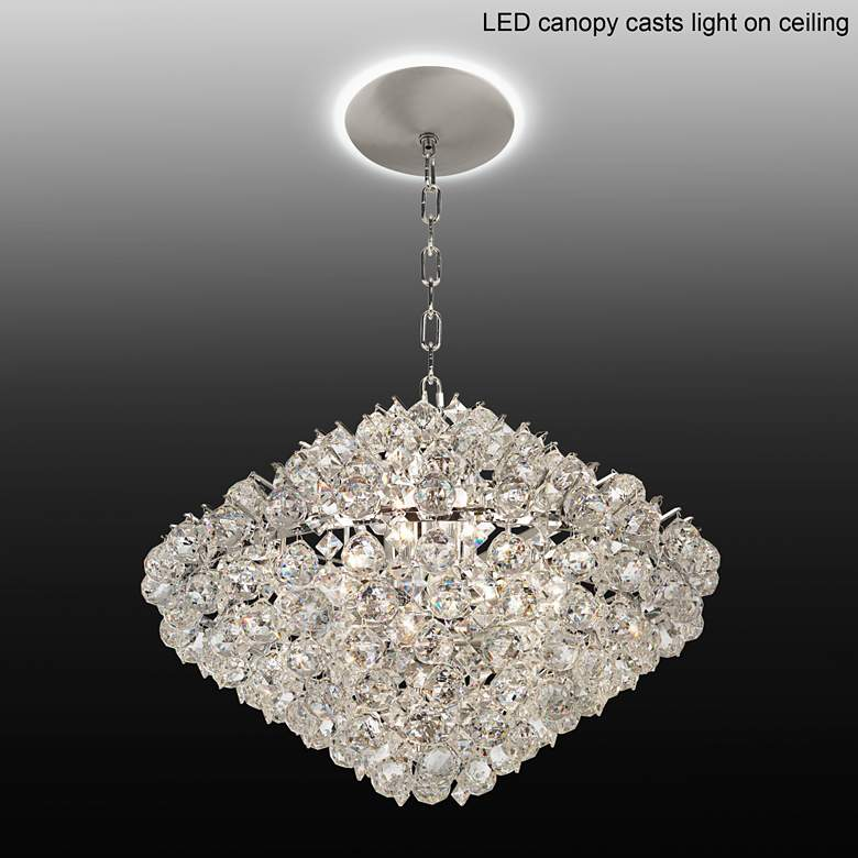 "Essa 24""W Chrome and Crystal Pendant Light with LED Canopy"