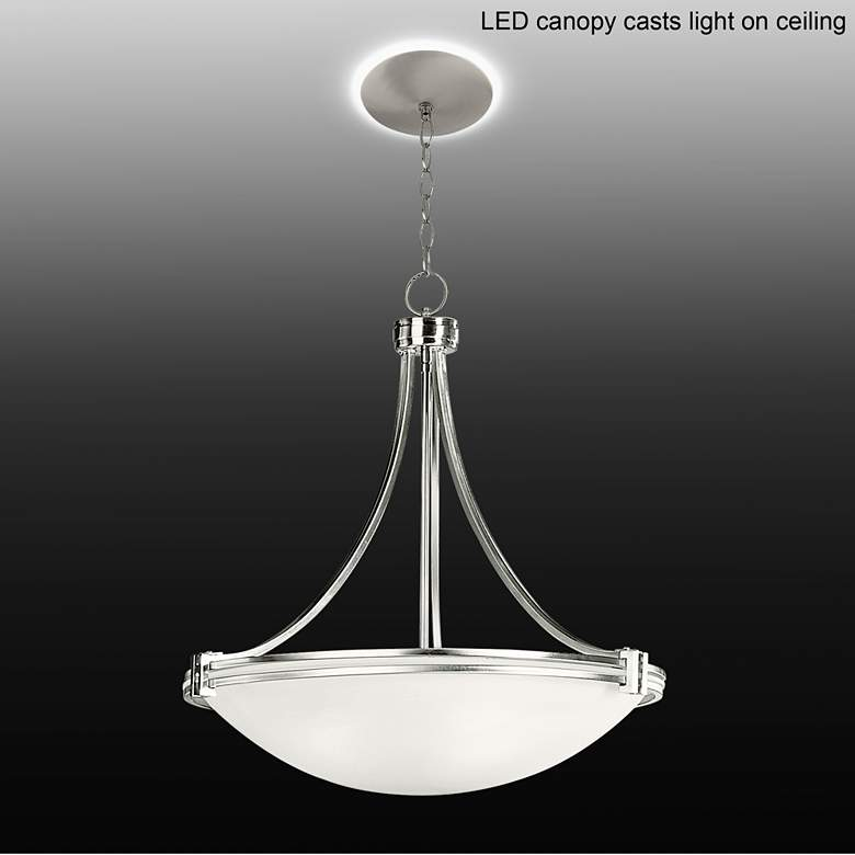 "Possini Euro Deco Nickel 24 3/4""W Pendant with LED Canopy"