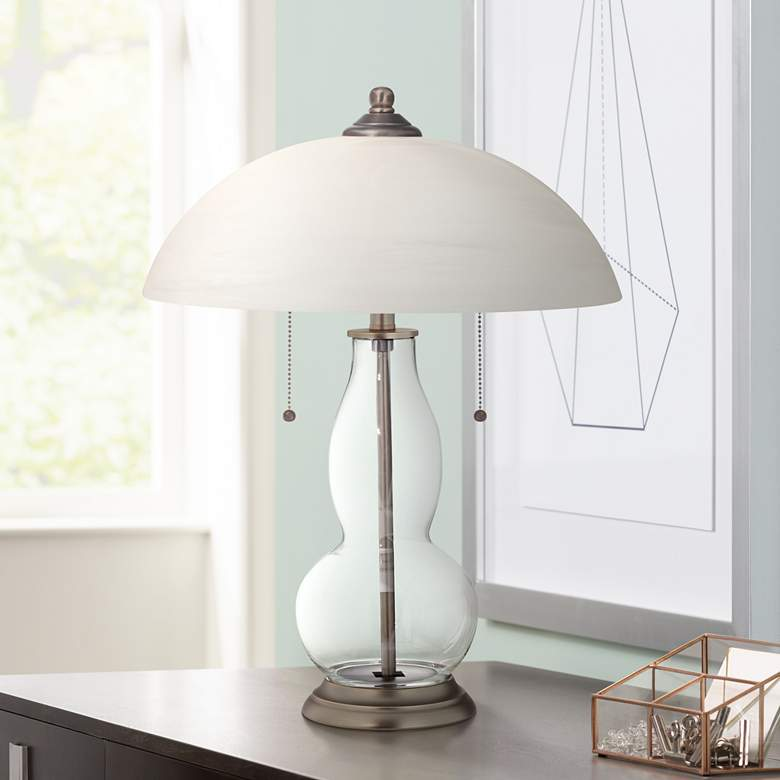 Clear Glass Fillable Gourd Table Lamp with Alabaster Shade