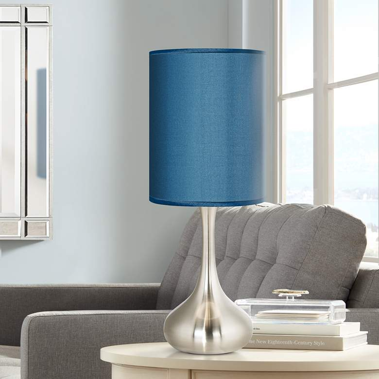 "Blue Polyester 23 1/2"" High Droplet Table Lamp"