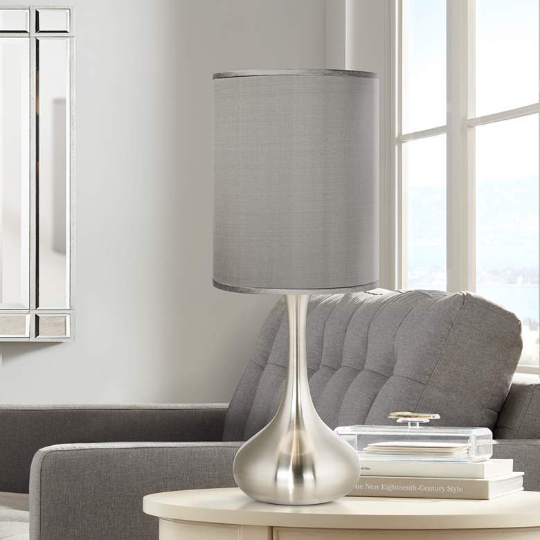 Gray Faux Silk Brushed Nickel Droplet Table Lamp