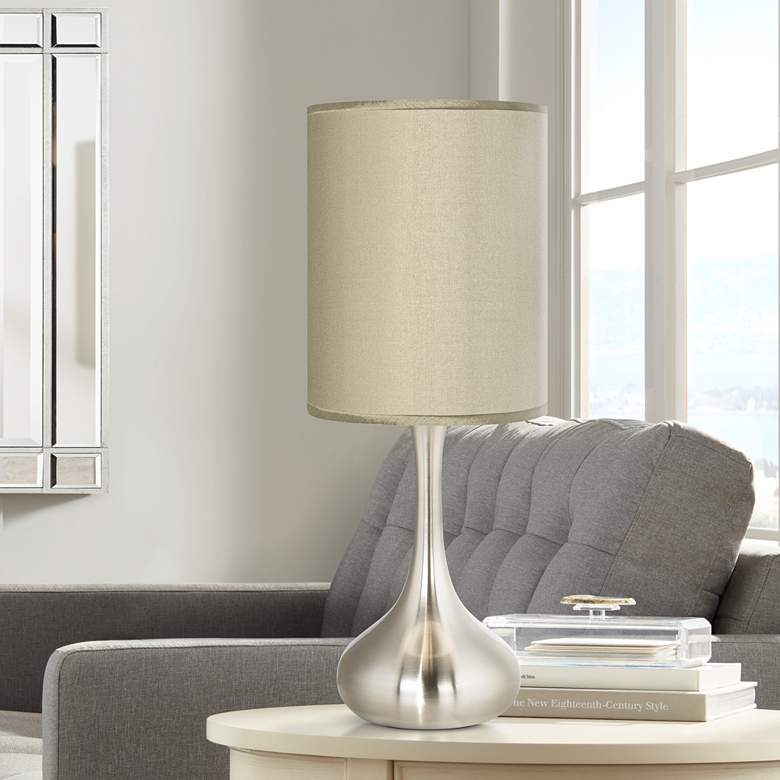 Sesame Faux Silk Brushed Nickel Droplet Table Lamp