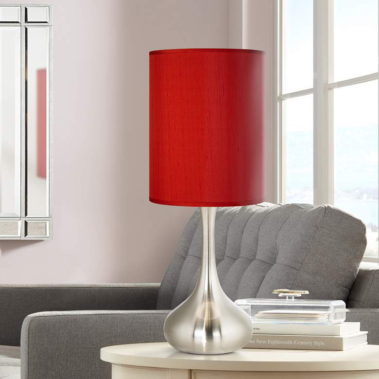 Red Textured Polyest Brushed Nickel Droplet Table Lamp