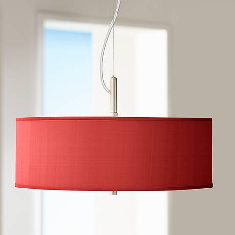 "China Red Textured Silk 20"" Wide Pendant Chandelier"