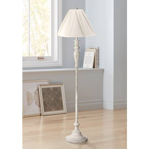 Ivory Pleat Vintage Chic Antique White Floor Lamp