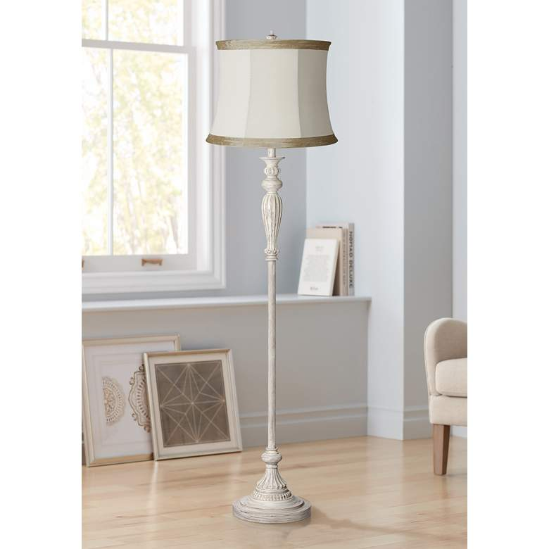 Pleated Ivory Taupe Vintage Chic Antique White Floor Lamp