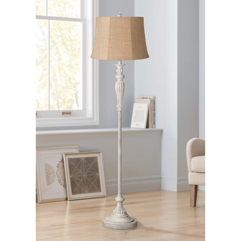 Natural Burlap Shade Vintage Chic Antique White Floor Lamp