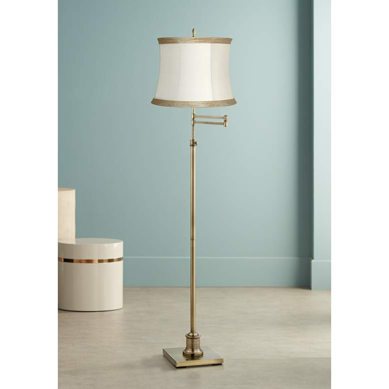 Westbury Ivory Linen Shade Brass Swing Arm Floor Lamp