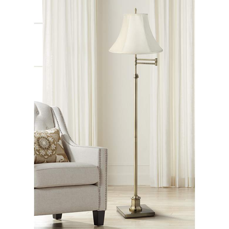 Westbury Creme Bell Shade Brass Swing Arm Floor Lamp