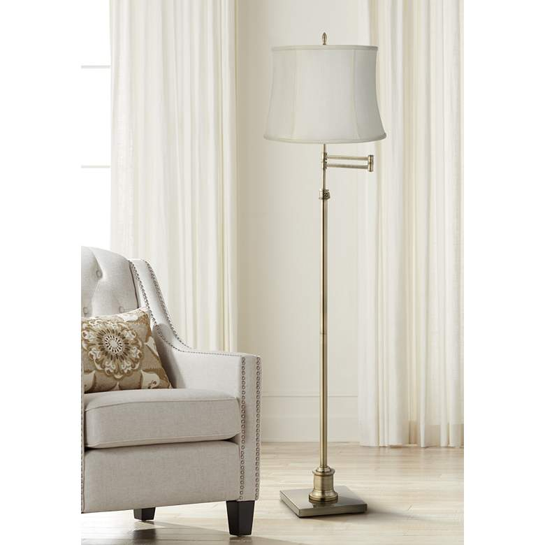 Westbury Creme Fabric Drum Brass Swing Arm Floor Lamp