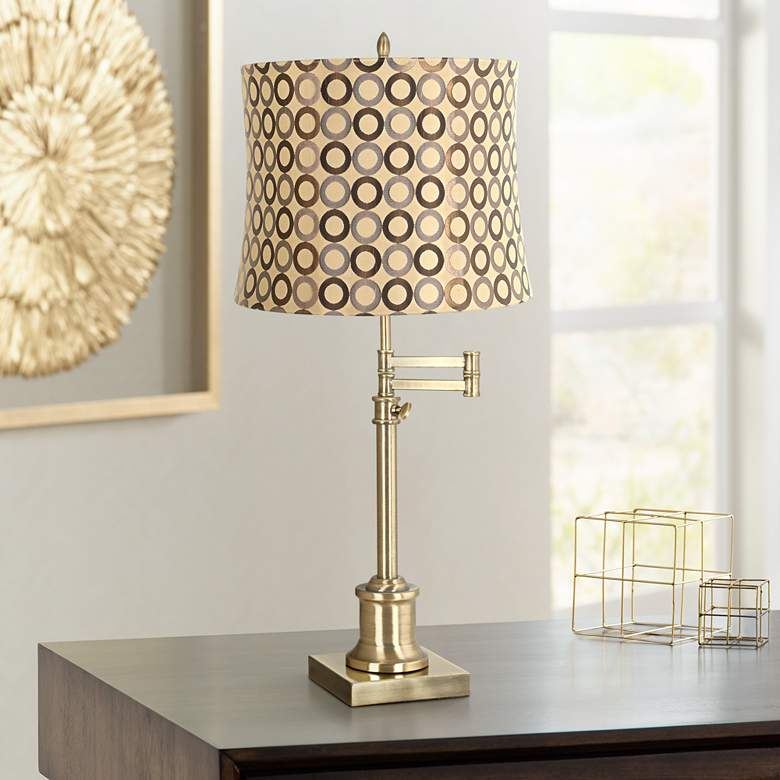 Westbury Copper Circles Shade Brass Swing Arm Desk Lamp