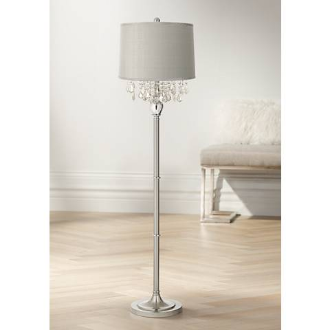 Crystals Platinum Gray Dupioni Satin Steel Floor Lamp