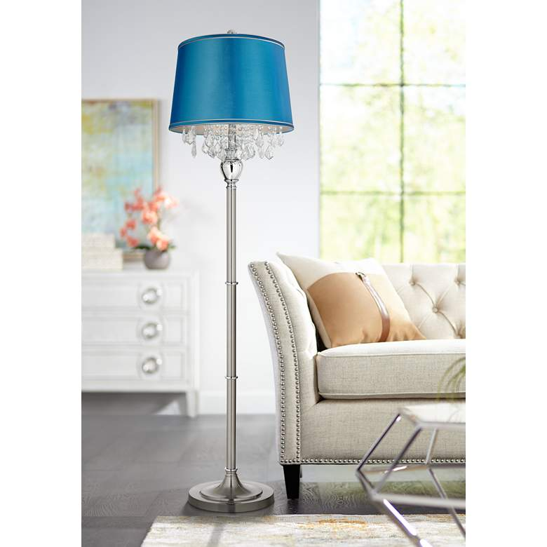 Crystals Turquoise Satin Shade Brushed Nickel Floor Lamp