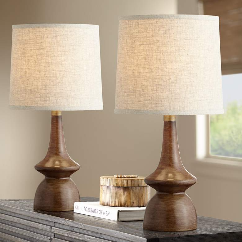 Rexford Mid-Century Walnut Table Lamp Set of 2
