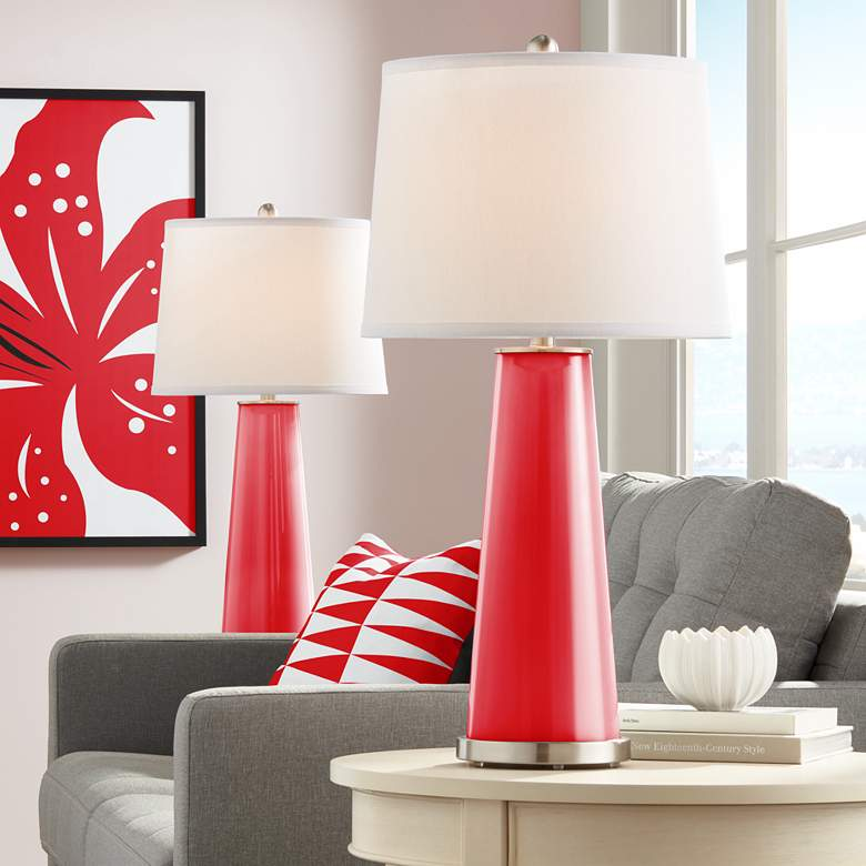 Bright Red Leo Table Lamp Set of 2