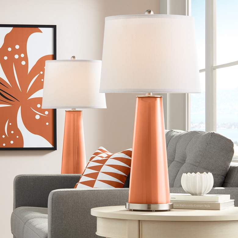 Robust Orange Leo Table Lamp Set of 2