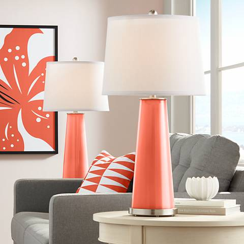 Daring Orange Leo Table Lamp Set of 2